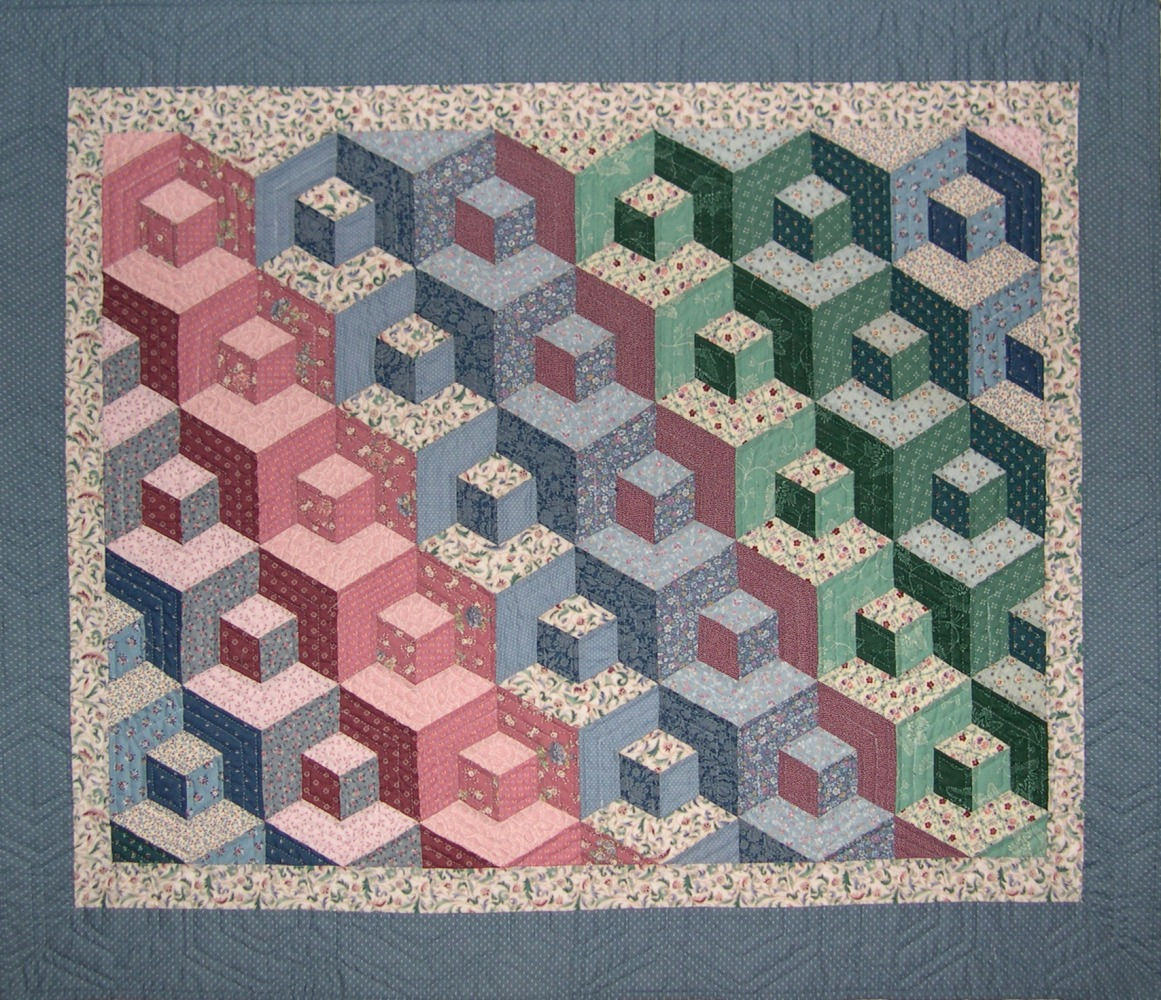 Tumbling Blocks Baby Quilt Pattern.The Blue Cat Creations Tumbling Blocks